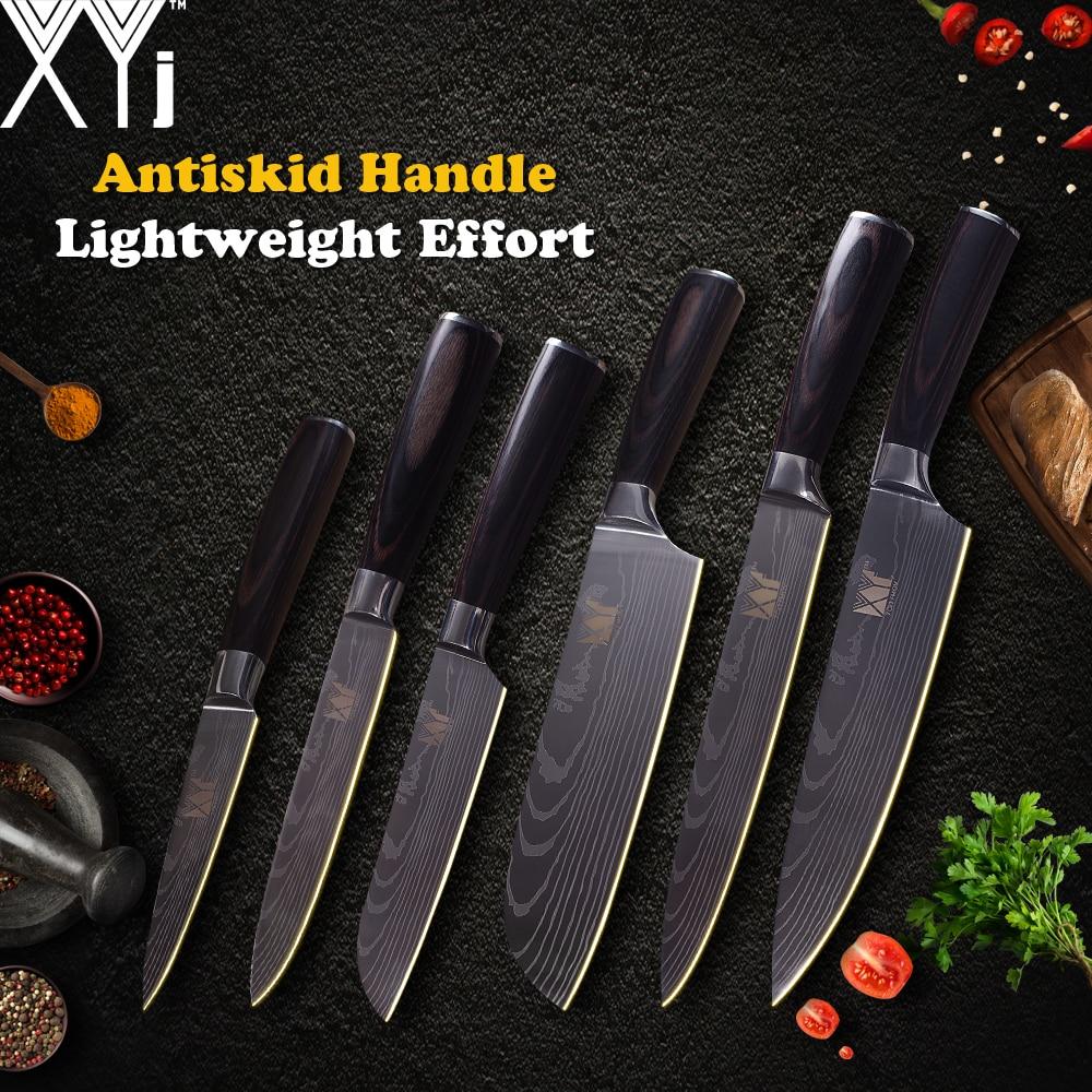 XYj Cuisine Couteaux De Cuisine Couteau En Acier Inoxydable 3.5, 5, 5, 7, 8, 8 pouces Japonais Chef Couteau Fruits Légumes Viande Cuisson Outils