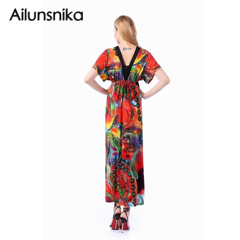Ailunsnika Women Orange Short Sleeve V Neck Backless Long Print Dress Bohemian Beach Maxi Dress 2018 Vestidos Mujer SW228-11
