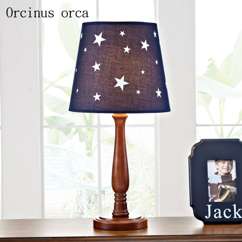 American Creative Star Children desk lamp boy bedroom bedside lamp cartoon character LED solid wood decorative table lamp