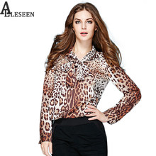 Casual Blouse 2019 Spring Autumn New Casual New Women Elegant Long Sleeve Bow Collar Slim Leopard Print Blouse(China)