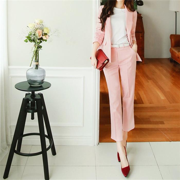 Professionnelle Deux Casual Pantalon Printemps Neuf Veste Costume pièce Automne Rose Costumes Femme Tempérament Femelle Long PxAEqFw