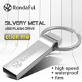 RondaFul  USB Flash Drive 64GB Key Ring Pendrive Metal Pen Drive USB Flash Customized Logo USB Stick High Speed Pendrive 64GB