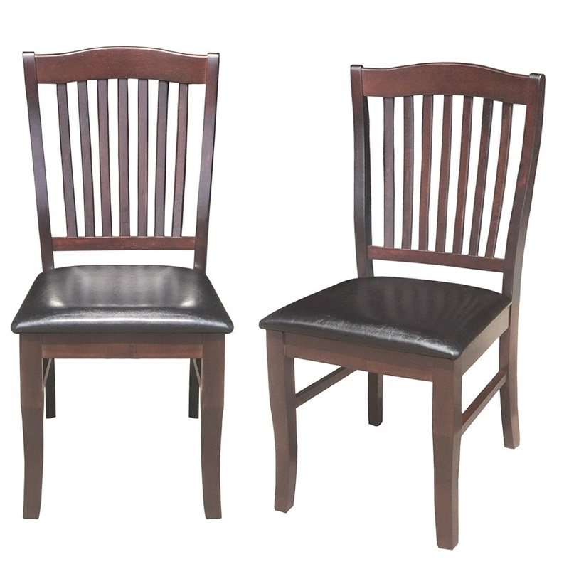Super Us 108 81 45 Off Set Of 2 Armless Slat Back Pu Leather Dining Chairs Modern Chinese Ergonomic High Back Design Chair Furniture Hw58880 In Dining Bralicious Painted Fabric Chair Ideas Braliciousco