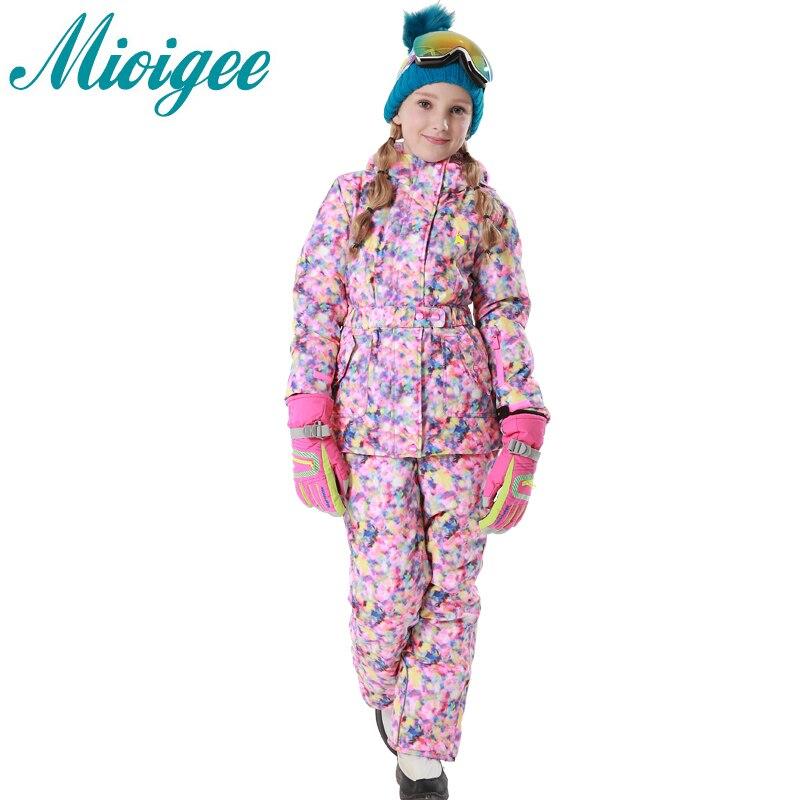 Mioigee 2017 Children Suit Girls Outdoor Hooded Jackets+Ski Pants kids clothes winter warm sports suit Waterproof waterproof