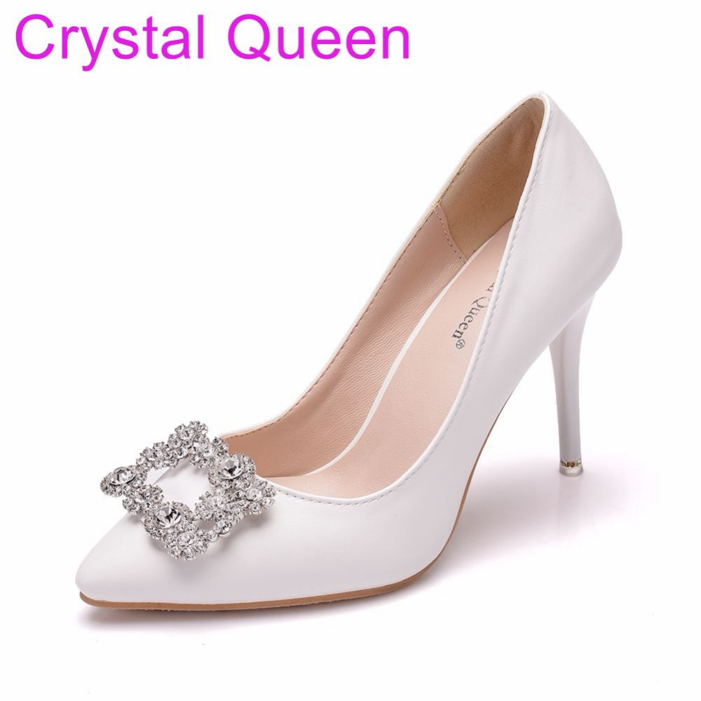 dde63579a227 Crystal Queen 9CM Square Buckle Rhinestone Pumps Pointed Toe Thin High Heels  Sexy Pumps Party Evening