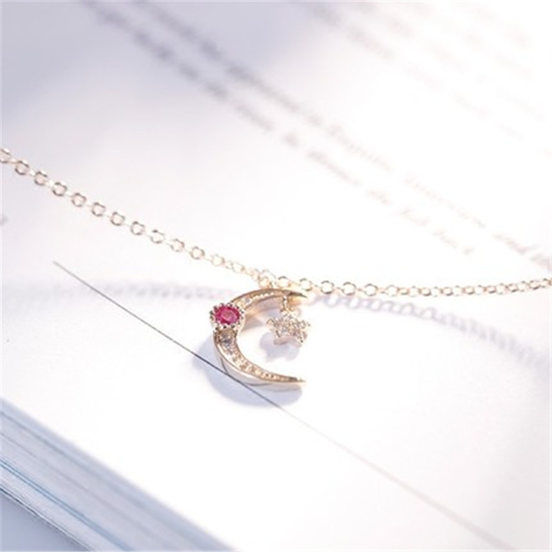 925 Sterling silver Pendant necklace The stars red and white Set auger Women 39 s fashion necklace jewelry wholesale in Pendant Necklaces from Jewelry amp Accessories