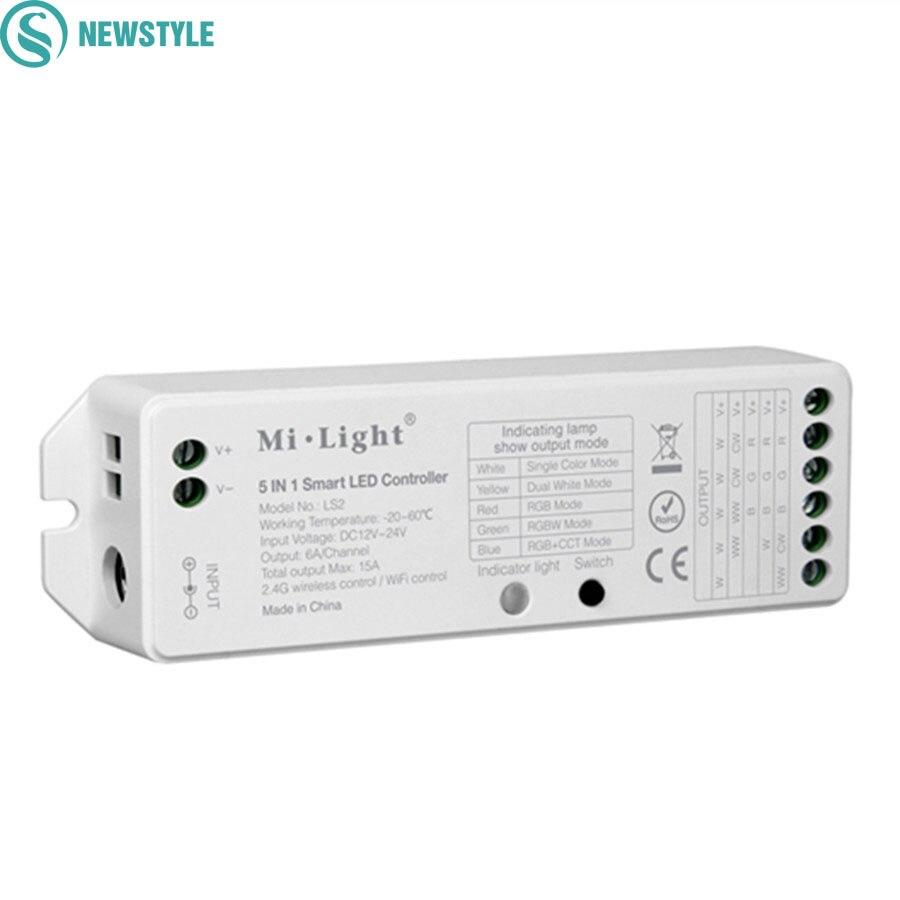 Milight 2.4G Wireless WIFI Control 5 IN 1 Controller Smart LED DC12V 24 V Controller Per Singolo Colore CCT RGB RGBW HA CONDOTTO LA Striscia