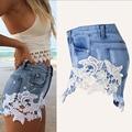 Sexy Costura de Encaje Jeans Shorts Mujeres Shorts Denim Patchwork Primavera Bottoms Raído Chic Mujer Americana de Moda de estilo Occidental