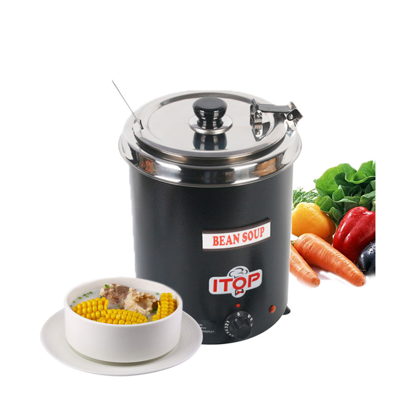 Fast Delivery Food Machine Electric Soup WARMING Kettle boiler stainlesssteel black 5.7L Iron spraying body Household Machine fast food leisure fast food equipment stainless steel gas fryer 3l spanish churro maker machine