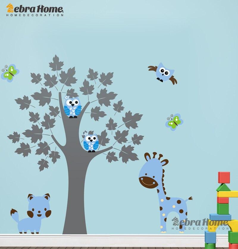 Giraffe Owl Butterfly Bird And Cat Wall Decal Stickers Wallpaper Mural Nursery Kids Children Room Home Decor 160*170cm