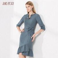 Джейн Story 2018 осеннее женское платье три четверти рукавами и v образным вырезом с принтом в полоску платье завязки спереди оборками нерегуляр