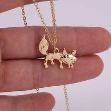 все цены на hzew  hot sale silver and gold color fox necklaces cute fox pendant necklace онлайн