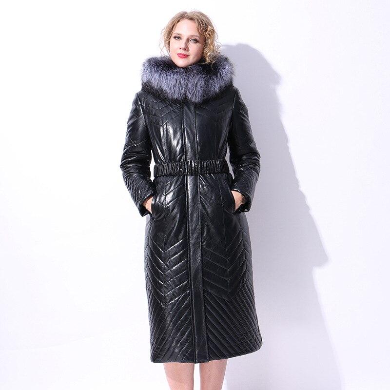 black 7xl Hiver 2018 Artificielle Renard Suède Mince Grande Mode Faux Manteau Peluche Argent Femmes En Blue De Long Taille Col Fourrure Daim f414xUw