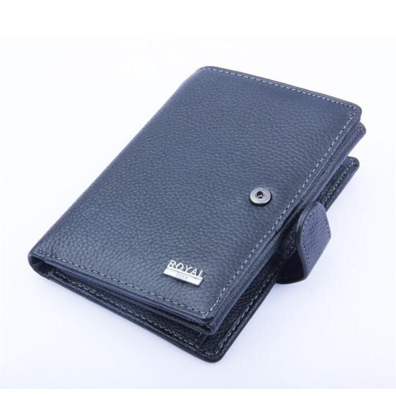 Men Wallet Genuine Leather 100% Cowhide Leather Wallets Soft Hasp Three Fold Large 2018 Big Capacity Wallets Men Black Purses