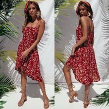 Summer Dresses 2019 New Women Boho Print Casual Sleeveless Square Collar Backless Loose Dress