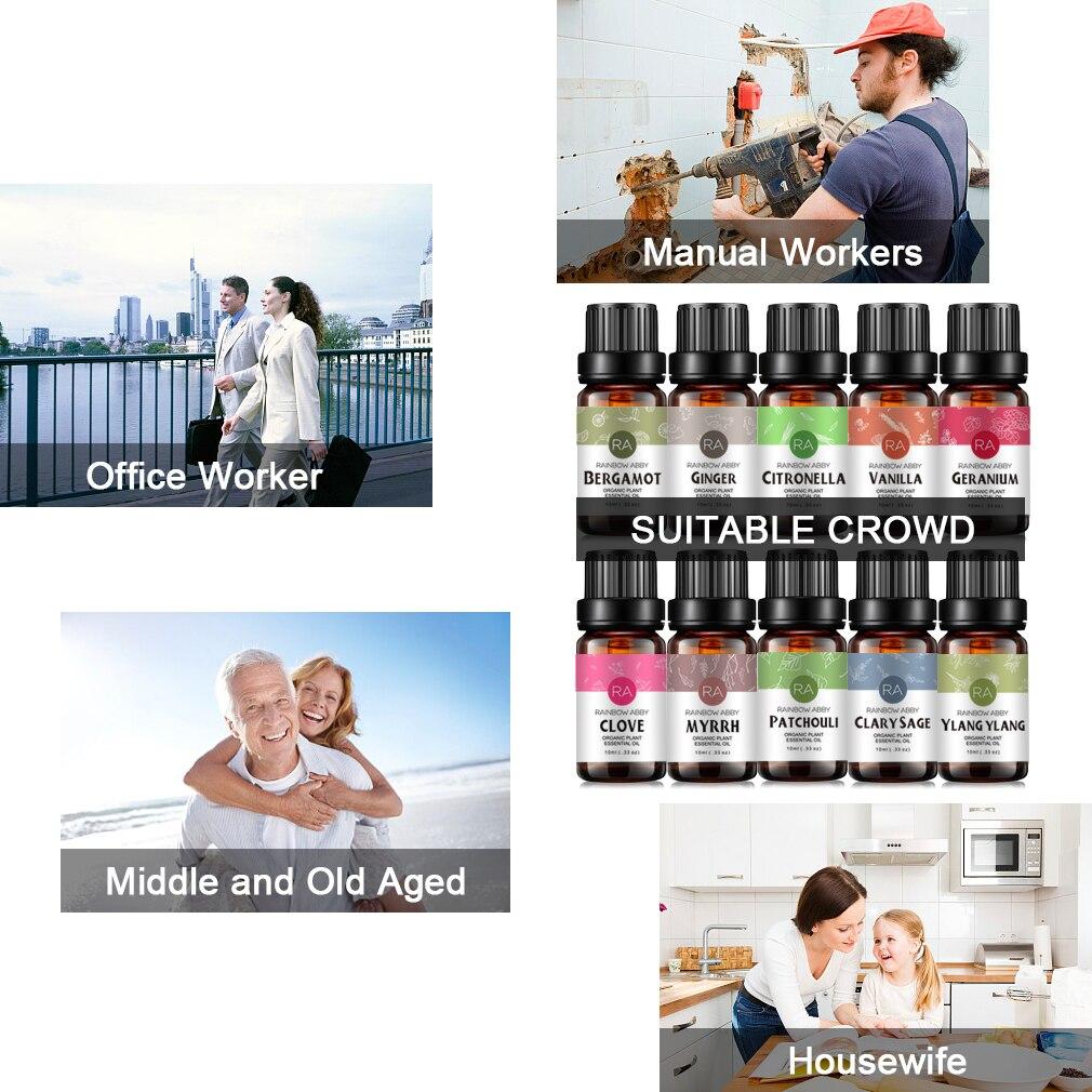 45 Flavors 100% Natural Essential Oil Lavender Chamomile Rose Oil Pure Plant Perfume Oil Body Massage Oil 10ml 8pcs/set
