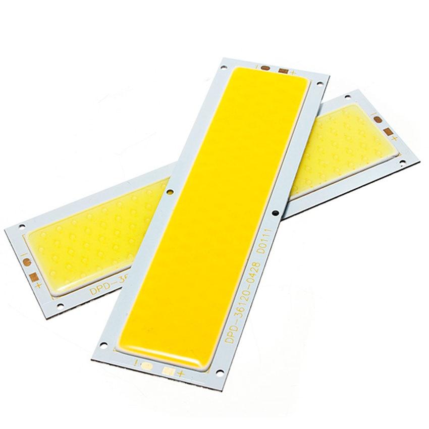 10PCS/lot Ultra Bright DC 12V 14V 10W LED COB Strip Lamp Lights Bulb for DIY 1000LM Warm Pure White 126x36MM