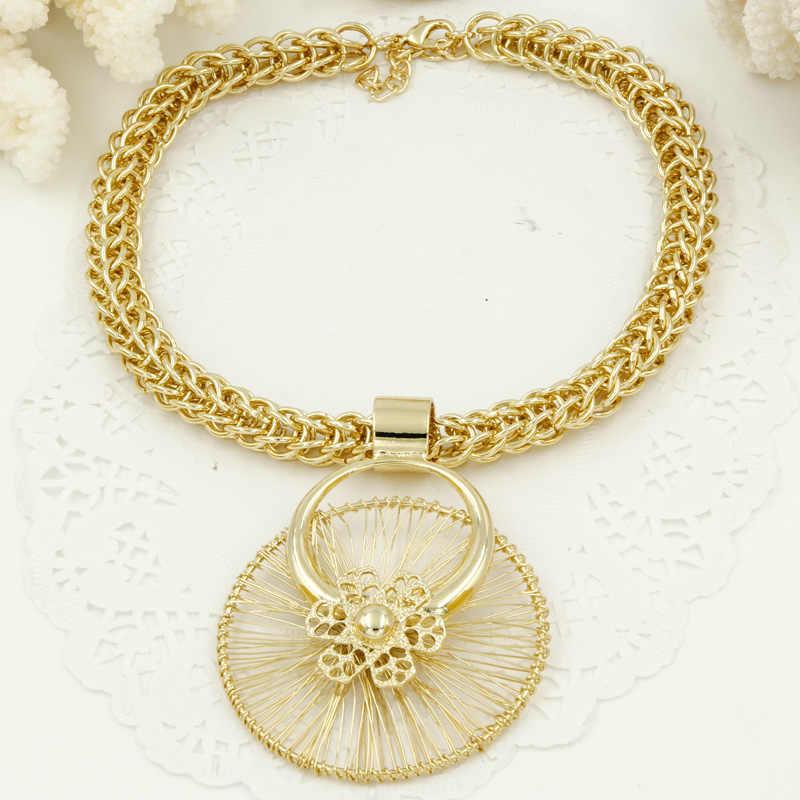 Liffly Afrikanische Braut Geschenk Hochzeit Dubai Gold Schmuck Sets für Frauen Mode Kostüm Schmuck Große Halskette Armband Ohrringe Set