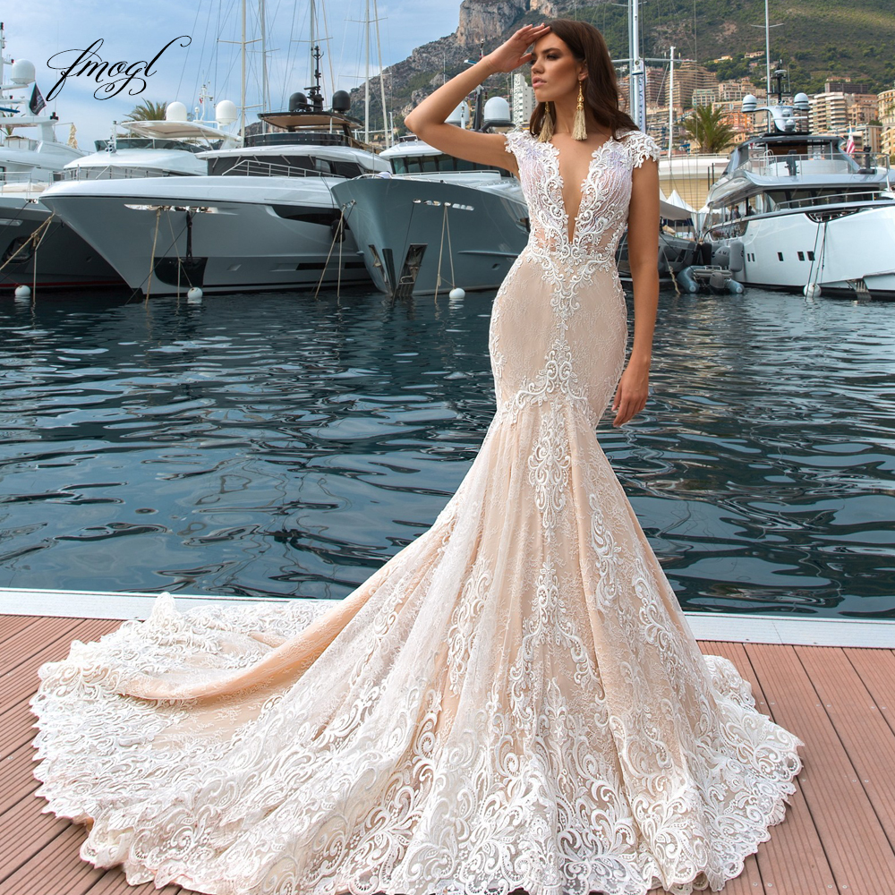 Fmogl Deep V Neck Illusion Lace Mermaid Wedding Dresses 2019 Sexy Cap Sleeve Appliques Court Train Vintage Trumpet Bridal Gowns