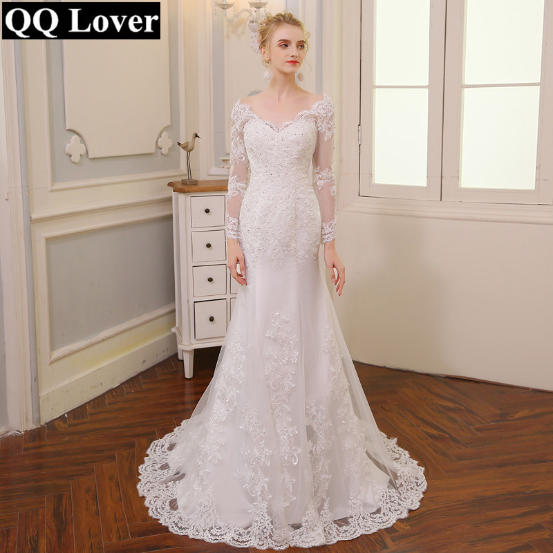 QQ Lover 2019 New V-neck Backless Mermaid Wedding Dress Long Sleeves Applique Vestido De Noiva Wedding Gown