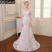 QQ Liebhaber 2020 Neue V ausschnitt Backless Meerjungfrau Hochzeit Kleid Lange Ärmeln Applique Vestido De Noiva Brautkleid