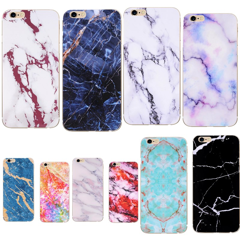 For iphone 7 8 6/7/8 plus X 5s 5 SE 6 6s Granite Marble Stone image Painted Silicone Capa phone Case Coque