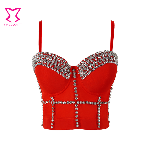 1cbc8a8bb69fe Red Diamond Chain Night Club Party Punk Rock Brassiere Push Up Bra Sexy Bustier  Crop Top Bralette Bras For Women Brasier Mujer