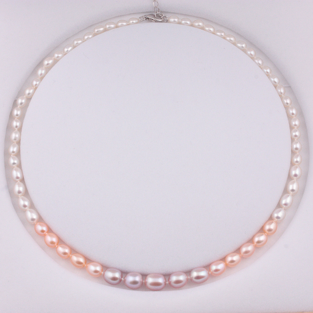 [MeiBaPJ] Luxury style Gradient Pearl Necklace Personalized Necklace Wedding Jewelry Colourfull  Necklace