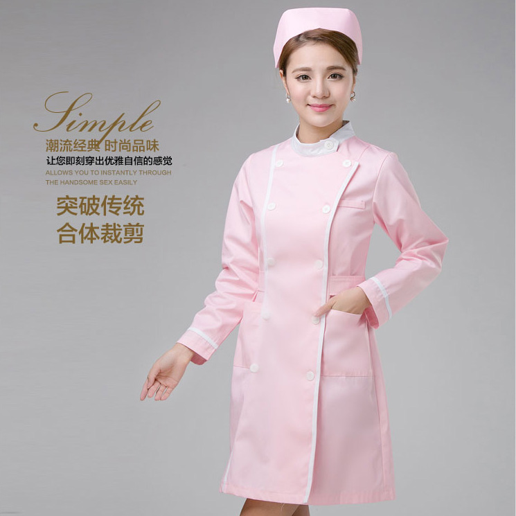 High Quality Washable Anti-wrinkle Medical Uniform Doctor Pink Tunic Nursing Uniforms For Beauty Salon With Free Nursing Cap