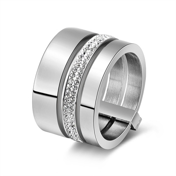 Multilayer Split Shank Steel Women's Band Ring Jewelry Rings Women Jewelry Ring Size: 8 Main Stone Color: silver color