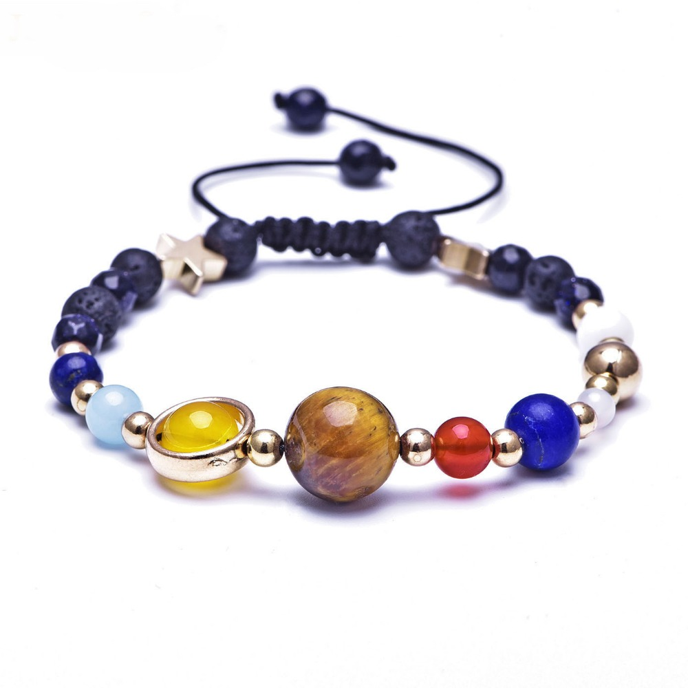 Josbores Universe Galaxy the Eight Planets in the Solar System Guardian Star Natural Stone Beads Bracelet Bangle for Women & Men