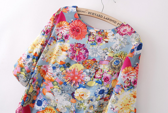 2013 new European and American women's fashion printed round neck full sleeve sexy women dress flowers