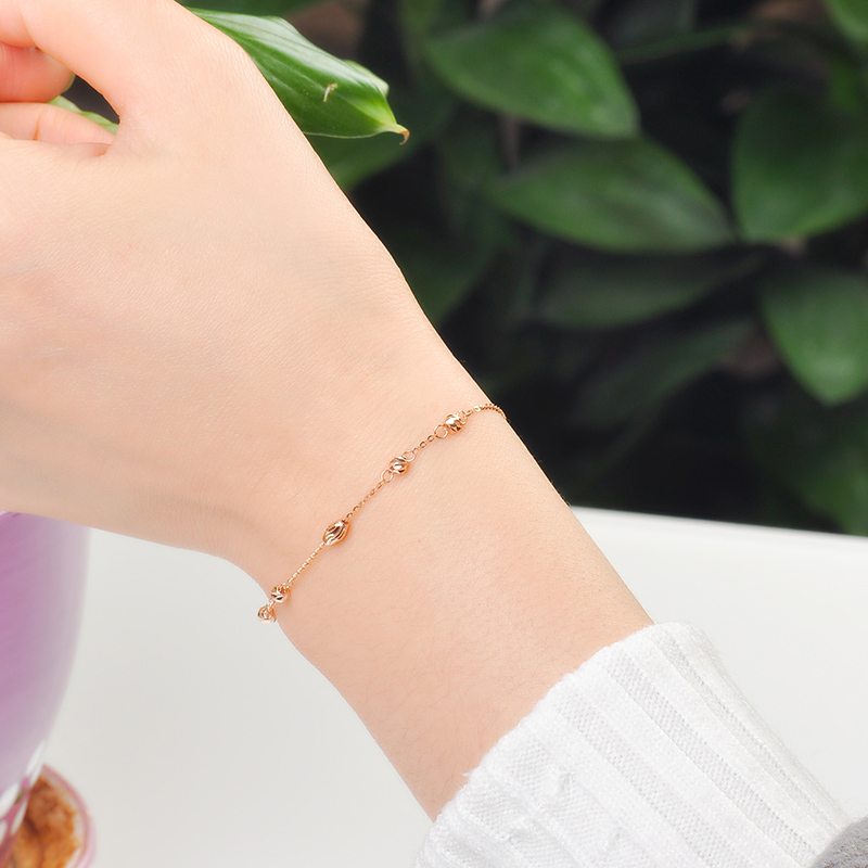 18k Gold Bracelet Luck Beads Women Girl Party Gift Lover 2017 New Genuine 750 Bangle Classic Discount Hot Sale Good Nice Fine