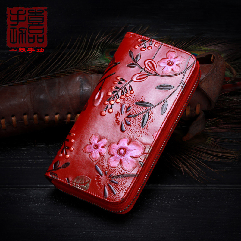 First Layer Cowhide Leather Wallet Women s Chinese Style 3D Painted Leather Long Handbag Top Luxurious