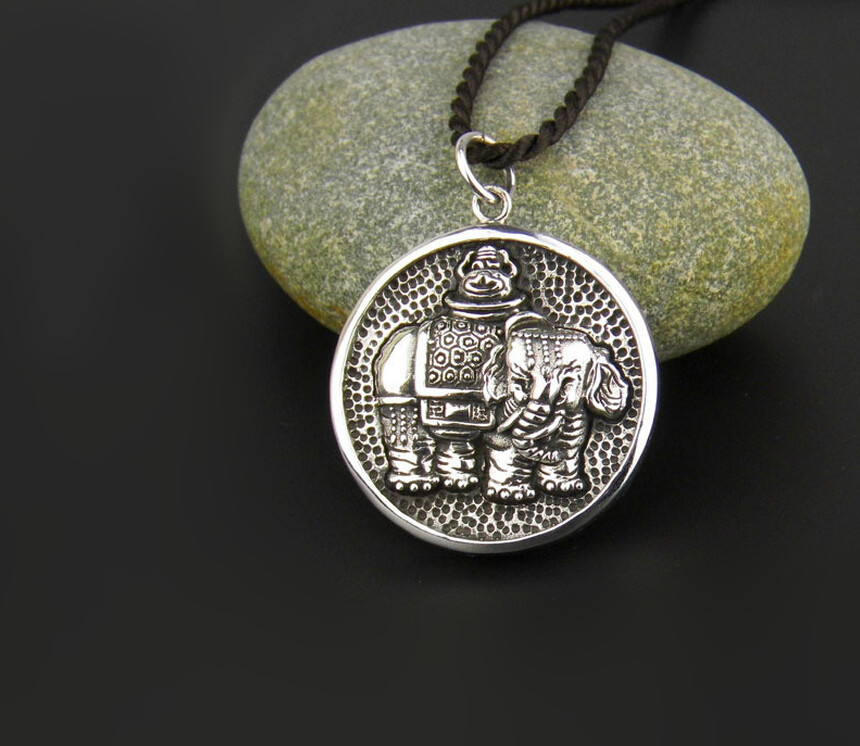 One of a kind personality design 925 sterling silver circular elephant vintage pendant exaggeration thai silver jewelry one green elephant футболка