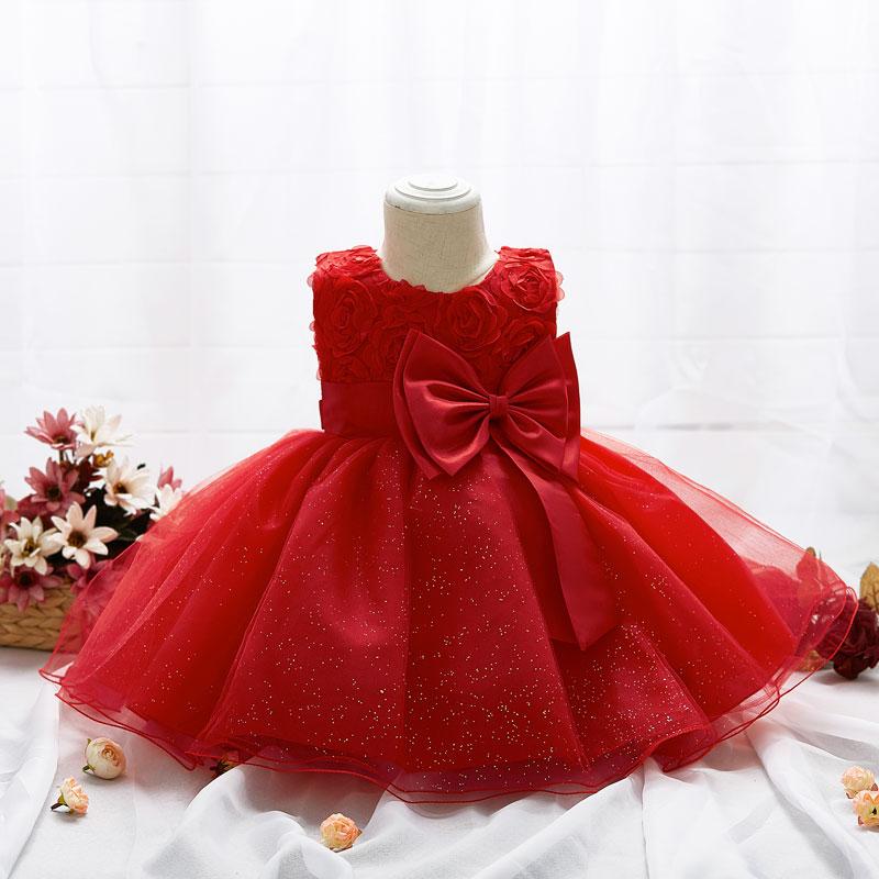 2017 Infant Newborn Girls Baby Dress Flower Big Bowknot Dress Wedding Flower Girl Full Moon First