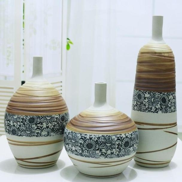 Pottery Vase Set Handmade Ceramics Craft Accessories Ornament