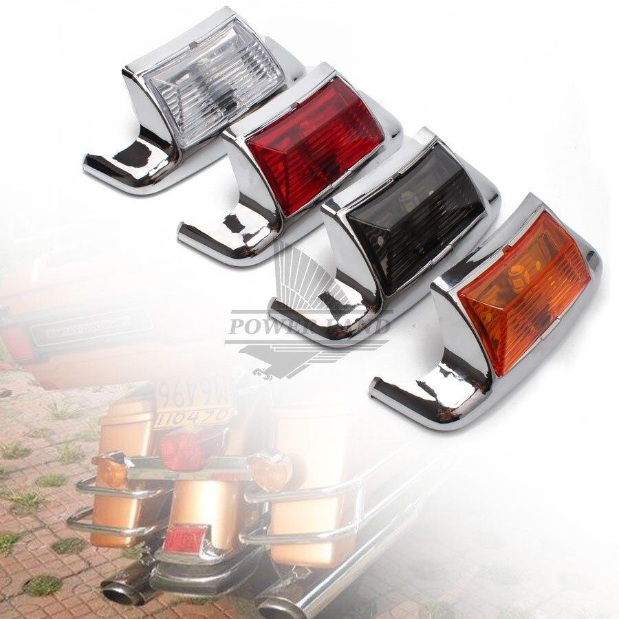 1 xmotorcycle fender ponta luz da lâmpada borda led paralama guarnição luz de condução para harley flstc heritage softail clássico flht flhs   - title=