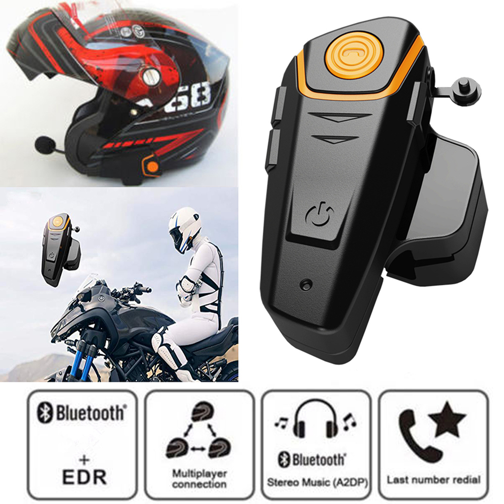 New BT-S2 Pro Motorcycle Helmet IPX7 Waterproof Intercom Motorbike Wireless Bluetooth Headset Waterproof BT Interphone With FM