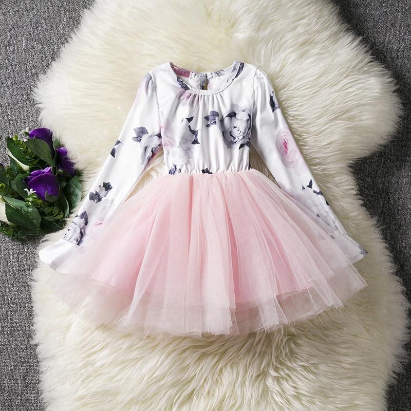 U-SWEAR 2019 New Arrival Kid   Flower     Girl     Dresses   Rose Print Full Sleeve Ruched Bow Chiffon   Dress   Ball Gown   Girl   Vestidos