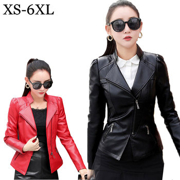 Plus size 6XL Spring Motorcycle Leather Jacket Women Bomber Jacket zipper 4 Color Loose PU Leather Short Coat chaqueta mujer 888 Косуха