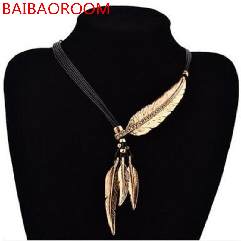 Women Necklace Alloy Feather Statement Necklaces <font><b>Pendants</b></font> Vintage Jewelry Rope Chain Necklace Women Accessories for Gift