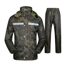 Reflective Stripe Adult Raincoat Rain Pants Set Outdoor Ridi