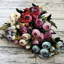 9Heads small silk Artificial Flowers peony flores fleur artificielles Camellia for Home christmas decoration fake Flower bouquet