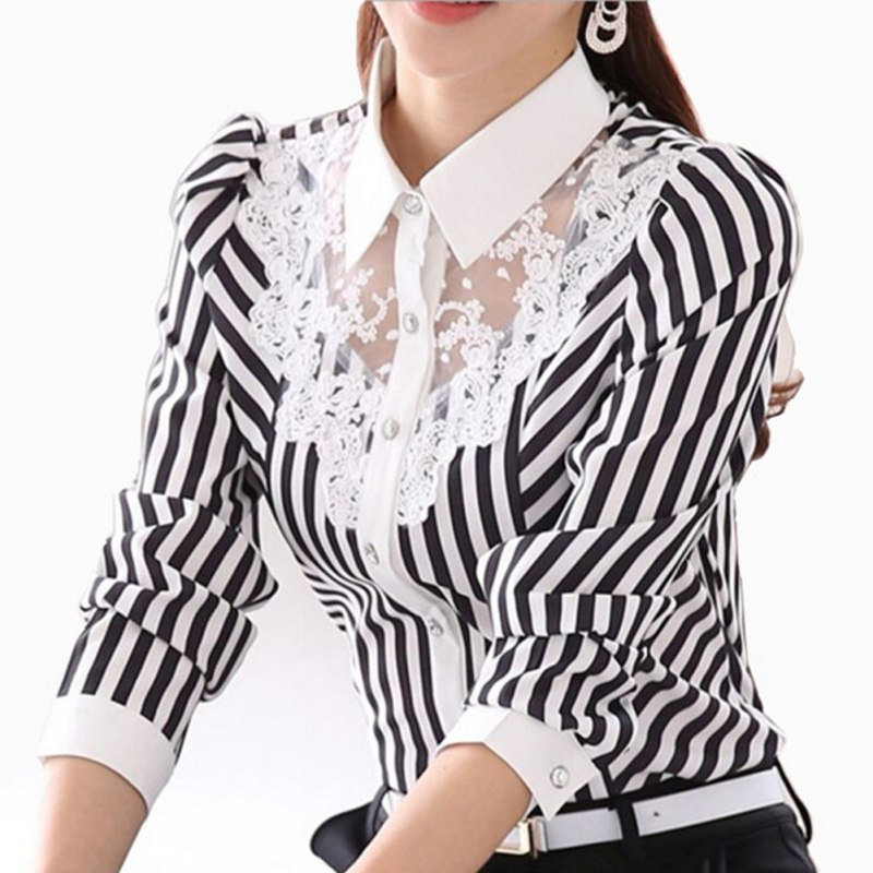 Women Blouse Long Sleeve Lace Tops Striped Turn-Down Collar Blouses Official Female Formal Shirt Spring Autumn