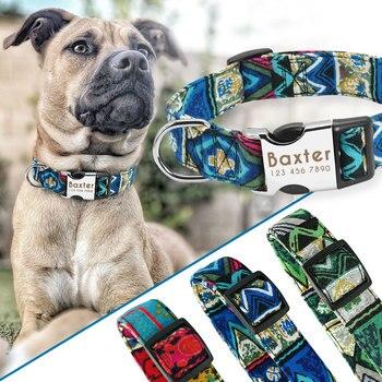 Collare di Cane Personalizzati Nylon Collare Dell'animale Domestico personalizzato Perro Targhetta Tag Collari Inciso Per Medium Large Cani Pug Bulldog Francese 1