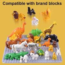 Big Animal Model Building Blocks Compatible Blocks Elephant Lion Horse Building Blocks Kids Education Toys For Children Gifts цена