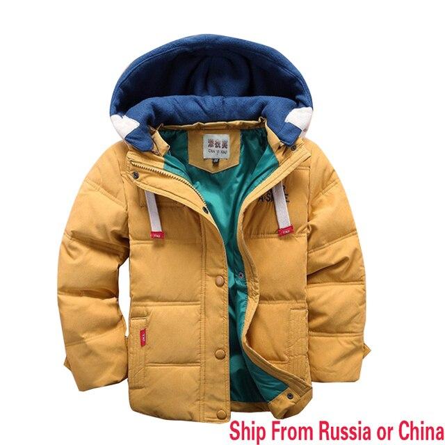 Корабль из россии Новые дети Вниз и Парки зимой дети верхняя одежда мальчики случайные теплое с капюшоном куртки для мальчиков твердые мальчики теплое пальто