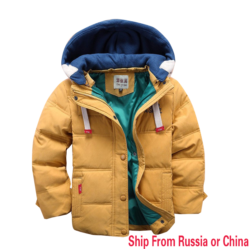 Ship from russian New children Down & Parkas winter kids outerwear boys casual warm hooded jacket for boys solid boys warm coatsShip from russian New children Down & Parkas winter kids outerwear boys casual warm hooded jacket for boys solid boys warm coats