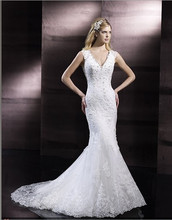 free shipping 2014 V-neck Swarovski crystals while rich embroidery flare dramatic keyhole back lace bridal gown wedding dress цены